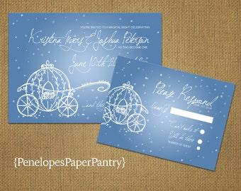 Cinderella Fairy Tale Wedding Invitation,Cinderella's Carriage,Cinderella Blue,Happy Ever After,Shimmery,Opt RSVP Customizable,Envelopes