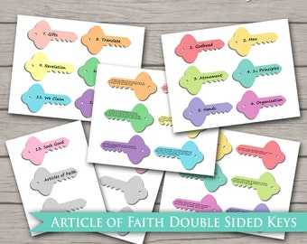 Articles of Faith Keys - LDS PRINTABLE Digital Faith In God Boys Girls LDS Primary Young Women Fhe Family Home Evening Activity Days