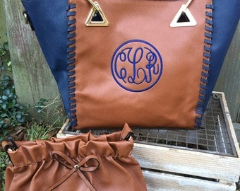 SALE: Monogrammed Brown and Navy contrast purse