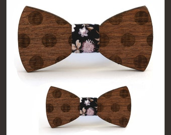 2 Wooden Bow Ties |Father and son|for HIM & him| Adjustable Elastic Strap|Walnut wood|Large-Medium-Small Size