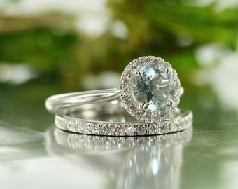 Balance-VS Diamond 7mm Round Aquamarine Diamond Halo Engagement Ring and Diamond Eternity Band in 14k White Gold Wedding Bridal Set