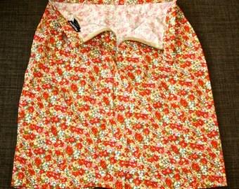 Floral High-waisted Cotton Skirt