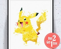BIG SALE: Pokemon Pikachu Print, Pokemon Art, Pokemon Print, Pokemon Decor, Pokemon Poster, Pokemon Wall Art, Pokemon Art Print, Pokemon Wal