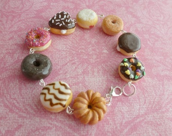 Donut Charm Bracelet Miniature Food Jewelry Gifts for Her Handmade Jewelry Polymer Clay Donuts