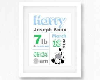 New Baby Birth Print, Jungle Nursery Wall Art, Safari Nursery Decor, Personalised Nursery Decor Print, Baby Boy Safari Decor