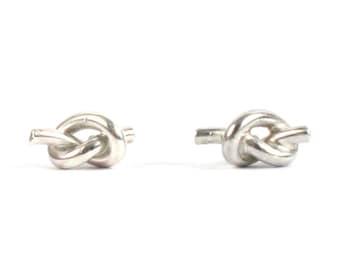 Handmade Solid Silver 925 Knot Stud Earrings