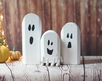 Reclaimed Wood Ghosts, Rustic Halloween Decor, Primitive Ghost, Wooden Ghost, Primitive Halloween, Rustic Home Decor, Halloween Decoration