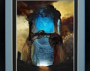 Framed Beksinski Art Poster Blue Chapel 15x20