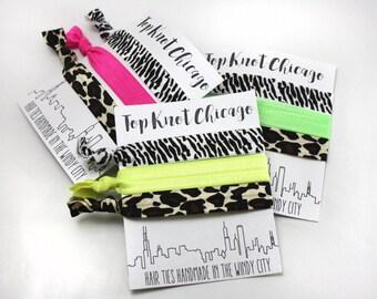 Animal Print Hair Ties - Leopard Print - Zebra Print - Neon - Elastic Hair Ties - Womens Hair Accessories - Ponytail Holder - Hair Bands