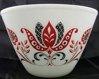 Vintage Fire King 3 Qt Modern Tulips Splash Proof Mixing Bowl