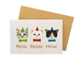 Meow Meow Cat Greeting Card