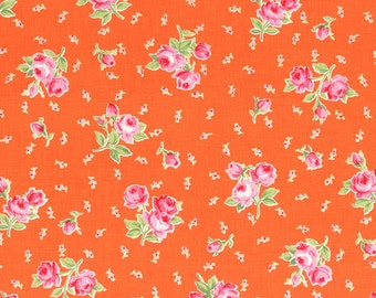 Flower Sugar Orange Floral Bouquet with Tiny Buds fabric from Lecien