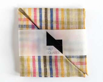 Pocket square ivory with multicolored stripes - multi-color striped linen pocket square - pocket square - gift for him