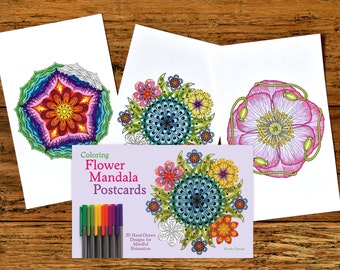 Adult Coloring Postcards Book - Coloring Flower Mandala Postcards - Signed Copy w/ Bonus PDF