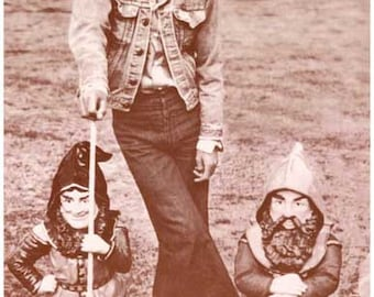 The Beatles George Harrison With Garden Gnomes Vintage Poster