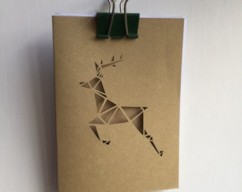 Aviemore Leaping Deer - Handcut christmas cards - Free UK Shipping
