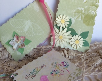 Green gift tags, handmade gift tags