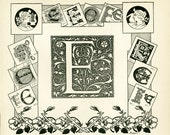 1897 Letter E French Dictionary Larousse Alphabet  scrapbooking home decor wall art 115 years old