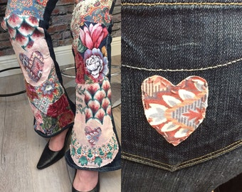 Upcycled PAIGE Jeans  Lou Lou Style Bootcut   Patchedworked Knee to Hem   Size 28