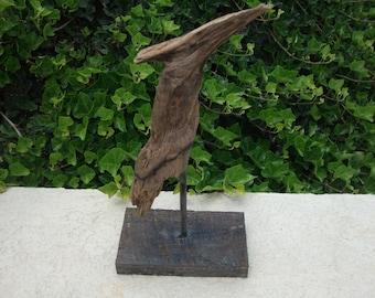 Woodpecker bird driftwood sculpture, Bird sculpture, Driftwood art, Bird watcher gift, Beach driftwood, Driftwood sculpture, Beach Decor