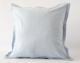 BLUE Linen blend pillow cover, blue pillow cover, linen blue decor pillow, Euro sham pillow cover, light blue linen blend pillow cover
