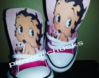 Kids sizes Custom Betty Boop Chucks