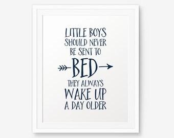 Peter Pan Nursery art, Little boys should never be sent to bed, Navy decor, Nursery Wall Art, Children decor, Inspirational Art Print