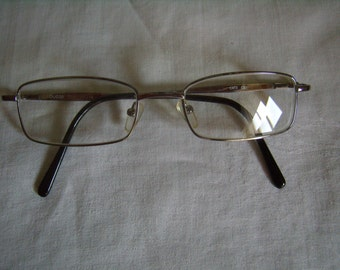 Square glasses, reading glasses, Vintage, 1990, silvery metal