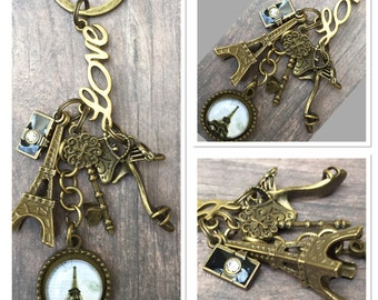 Vintage Style Antique Alloy Metal Bronze Eiffel Tower French Paris Cabochon pendant charms Keyring Keychain