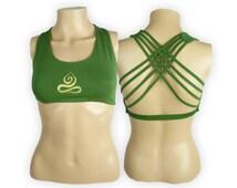 Yoga Bra Top (Green)  -Yogi In Lotus Pose- Criss Cross design workout bra -  Sports bra - Hot Yoga Bra Top - Lycra Cotton Blend