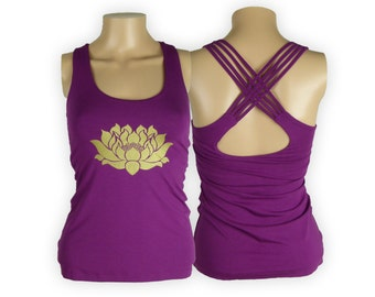 Lotus Shirt with Braided Cross back - Lycra Braided Cross back Yoga Shirt - Lotus Womans Meditation Top - Relax Fitness Tshirt - WB5