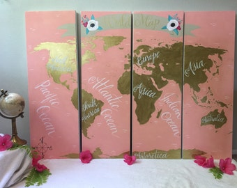 Customizable World Map on Canvas