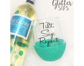Glitter Dipped Stemless Wine Glass - Stemless Wine Glass - Glitter Dipped - Glitter Cup - Tilt Sip Repeat - Mom Life - Wine Glass - Wine