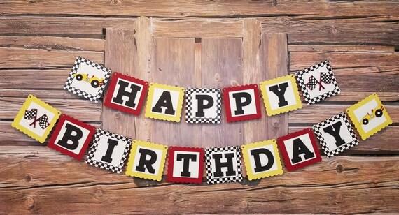 Happy Birthday Race Car Banner Race Car Theme Race Car