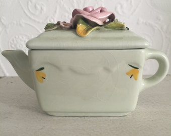 Vintage Wildwood Ceramic Art Pottery Teapot~Pink Rose