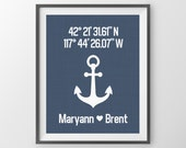 Personalized Navy Gift Nautical Décor Gift For Couple Custom Latitude Longitude Print Anniversary Gift Navy Blue Wall Art Housewarming Gift