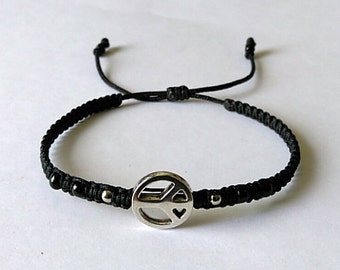 Black Thin Peace Sign Bracelet