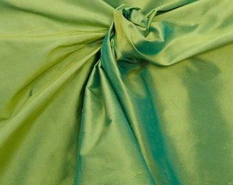 "Green Blue iridescent 100% dupioni silk fabric yardage By the Yard 54"" wide raw silk Soie Sauvage"