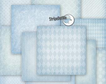Blue Digital Paper, Light Blue Paper, Blue Scrapbook Paper, Blue Backgrounds, Pastel Blue, Digital Paper Blue, Digital Paper Pack,  00036