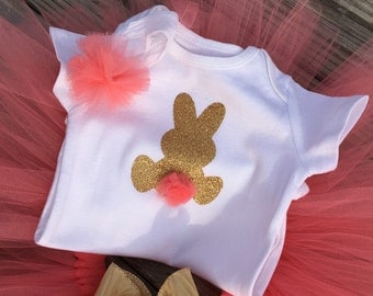 EASTER OUTFIT- Baby girl's Easter bunny outfit-Gold & coral tutu-with customizable-MONOGRAM