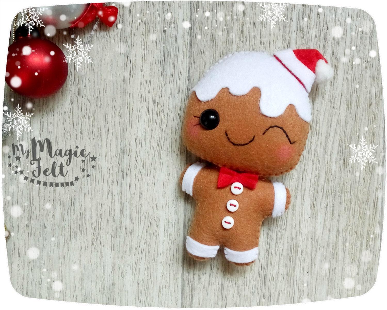 Christmas ornaments felt gingerbread man christmas decorations - Decorations for gingerbread man ...