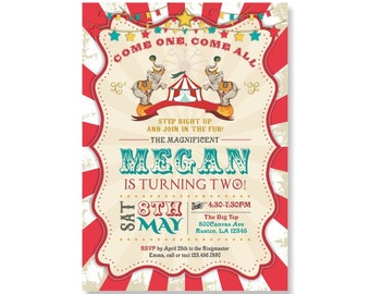 Circus Birthday Invitation, Circus Themed Party, Circus Birthday, Vintage Carnival, Photo Invitation, Circus Elephant, Come One Come All 371