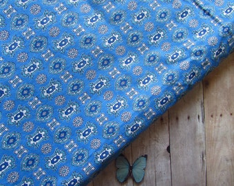 Beautiful Blue Vintage Fabric - Over One and a Half Yards x 36 Wide