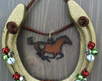 Holiday Decorated Horseshoe,Equestrian Decor,Horseshoe Decor,Decorated Horseshoe,Horse Decor,Christmas,Cowgirl Gift,Western Decor,Farm Decor
