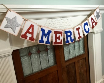 America banner, 4th of July party decor, patriotic decoration, 4th of July banner, glittered banner