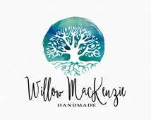 Watercolor Tree Logo Design , Watercolour Tree , Tree with Roots , Roots and Wings , Tree of Life , Logo for Doula , for Midwives