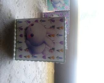 Charming Kawaii Bunny Rabbit Mini Gift Card Enclosure Tag Handmade Greeting Card