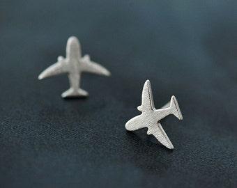 Silver Plane Earrings,Tiny Aeroplane Stud Earrings,Sky Flying Style Jewelry,ER083,Gift For Airline Hostess/Pilot,Silver Earrings