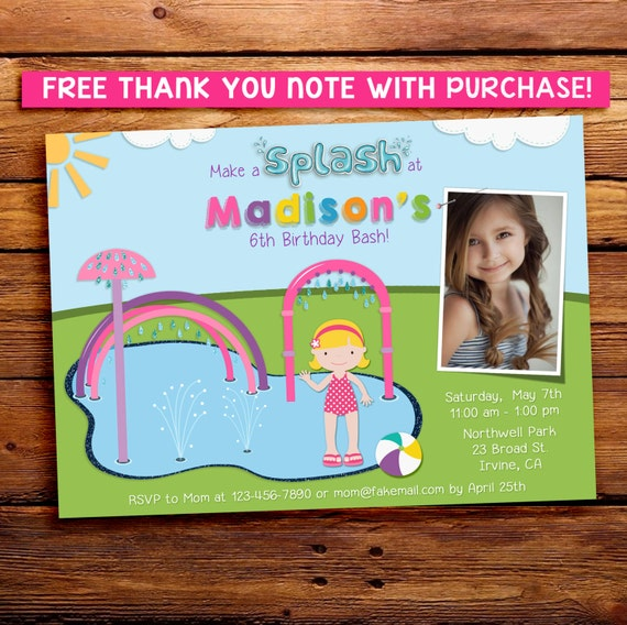 Girl Splash Pad Invitation with photo