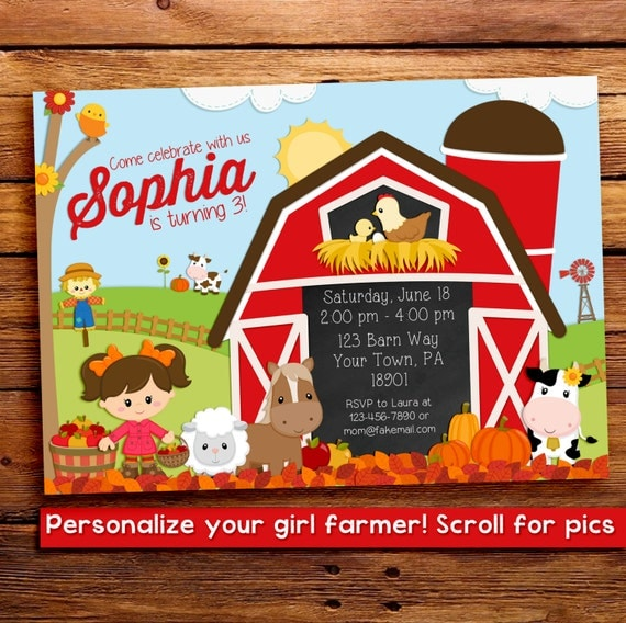 Fall birthday party invitation - Farm birthday invitation - Fall Farm Invitation - Fall Barnyard Invitations - fall invitation